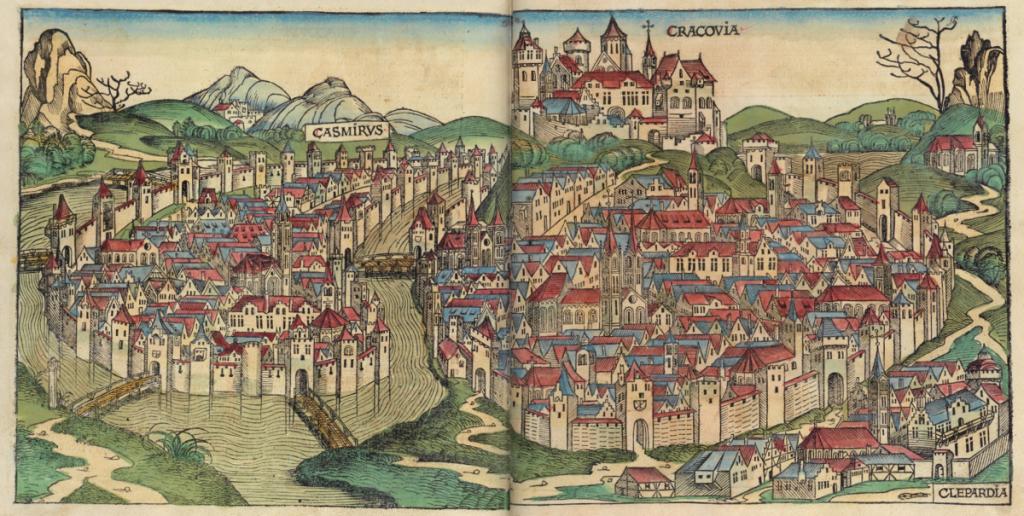 Krakkó korabeli fametszeten (1492), szkennelt lap a Nürnbergi Krónikából. (Michel Wolgemut, Wilhelm Pleydenwurff)